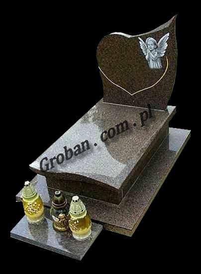 Nagrobek z sercem i aniołem